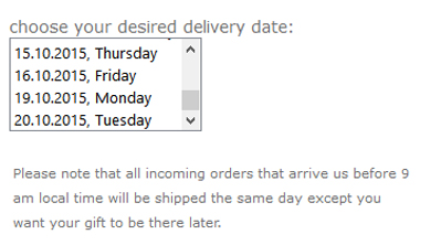 delivery date for europe