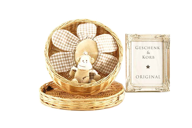 BABY GIFT BASKET CUTE MONKEY MUSIC CLOCK