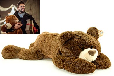 BIG TEDDY BEAR DARK BROWN Gift wrapped Plush Toy for Europe